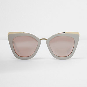 Grey oversized mirror lens sunglasses
