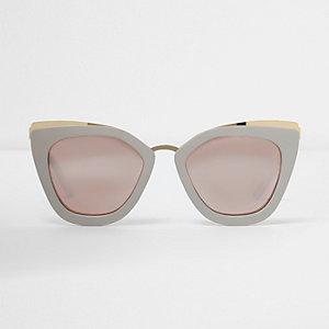 Grey oversized mirror lens sunglasses