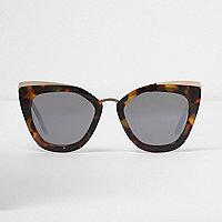 Bruine oversized zonnebril met spiegelglazen