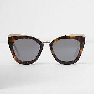Braune, verspiegelte Oversized-Sonnenbrille