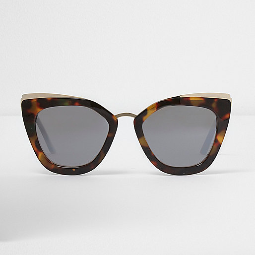 Brown oversized mirror lens sunglasses