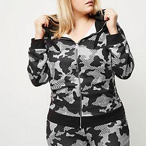 Plus – Grauer Gym-Hoodie mit Camouflage-Muster