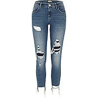 Medium blue Alannah knee ripped skinny jeans
