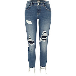 Medium blue Alannah knee ripped skinny jeans