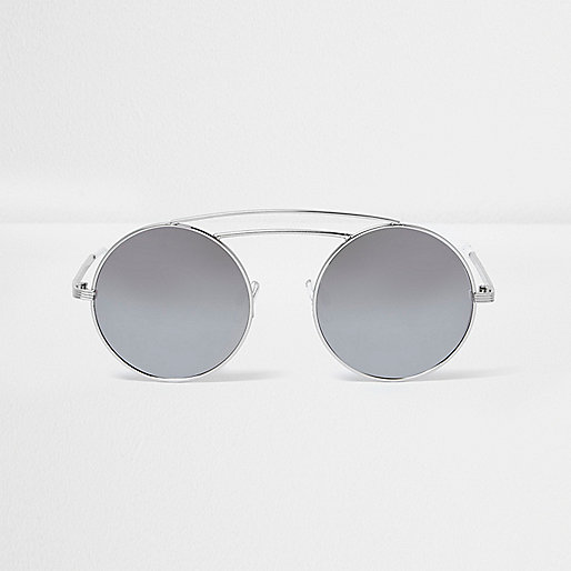Silver tone double brow bar round sunglasses