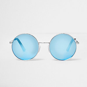 Silver circle lens blue mirror sunglasses