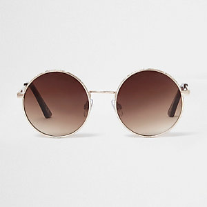 Gold circle lens brown mirror sunglasses