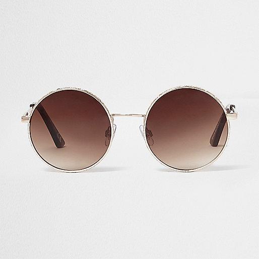 Gold circle lens brown mirror sunglasses