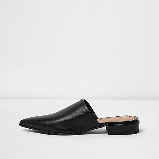 Black leather slip on mules