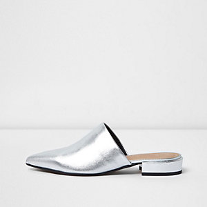 Silver metallic leather slip on mules