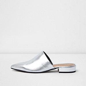 Silver metallic leather slip on mules