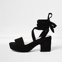 Black soft tie platform mid heel sandals