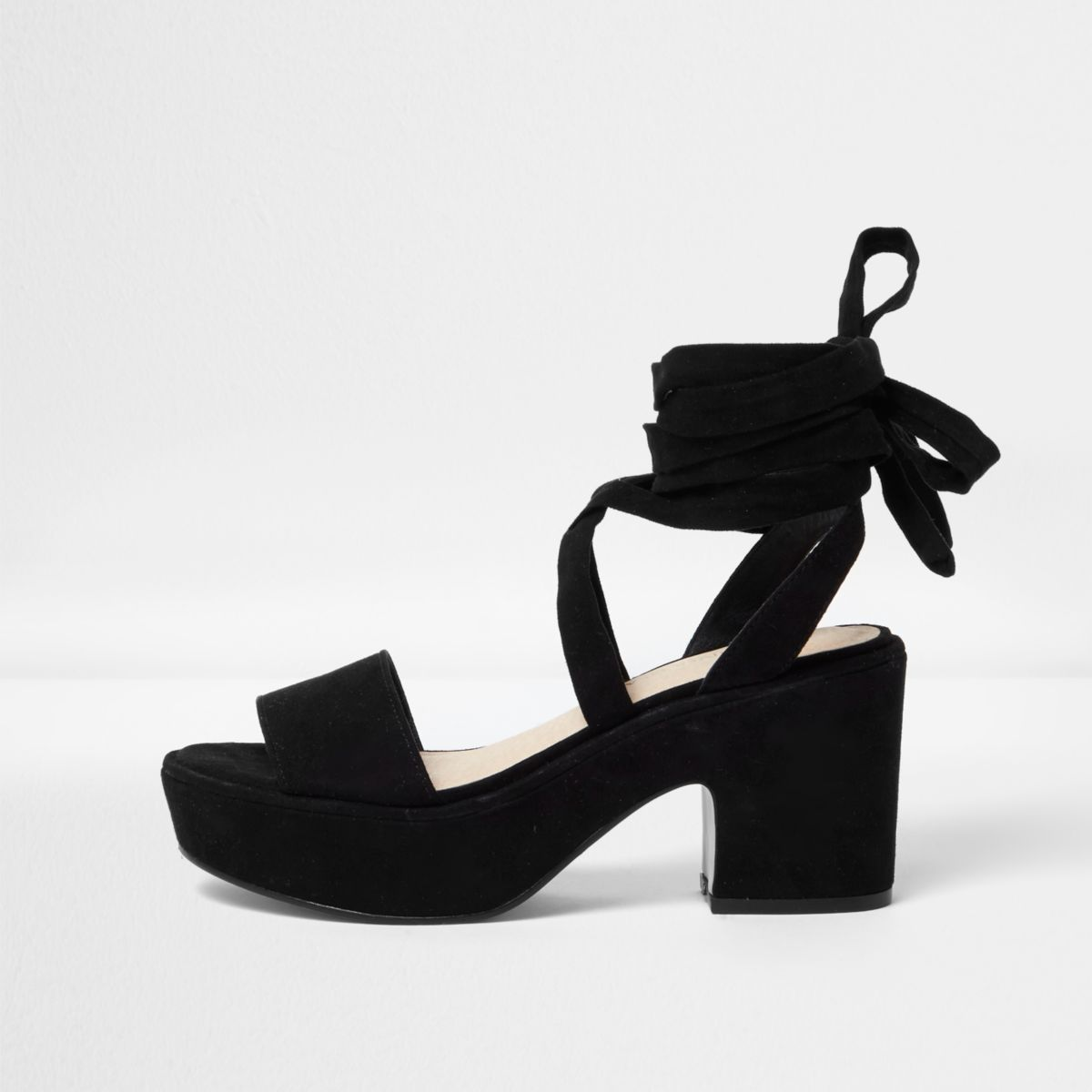 Black soft tie platform mid heel sandals