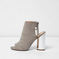 Grey metallic heel shoe boots