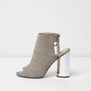 Grey metallic heel shoe boots