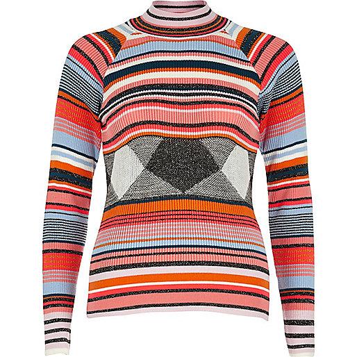 Orange stripe turtleneck jumper