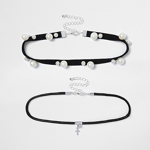 Black pearl choker necklace pack