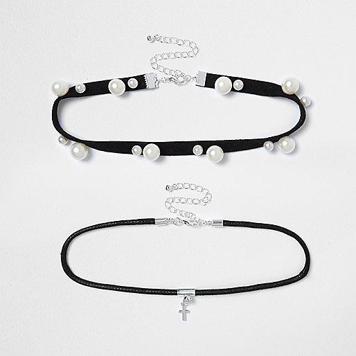 Parure collier ras-de-cou avec perles noir