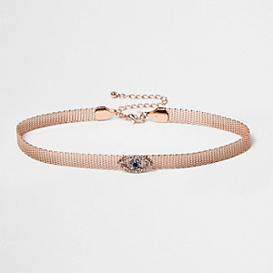 Rose gold tone evil eye choker necklace