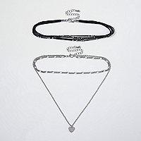 Black heart layered choker necklace set