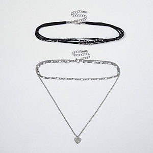 Black heart layered choker necklace set