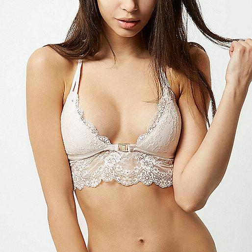 Nude lace longline bra