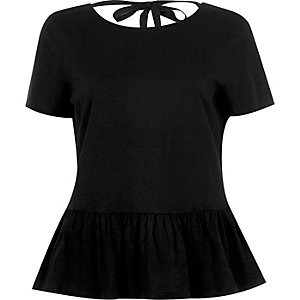 Black tie back soft peplum T-shirt