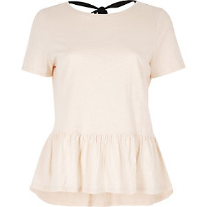 Nude tie back soft peplum T-shirt