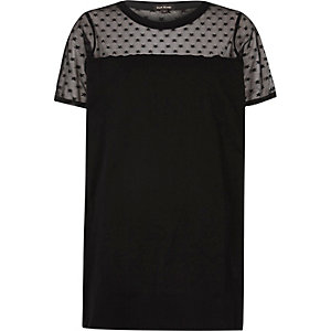 Black star mesh oversized T-shirt