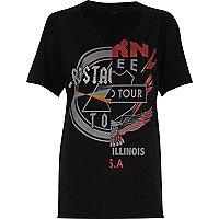 Schwarzes T-Shirt mit Rockstar-Print