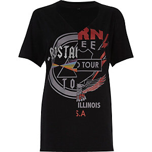 Black 'Rockstar' print band T-shirt