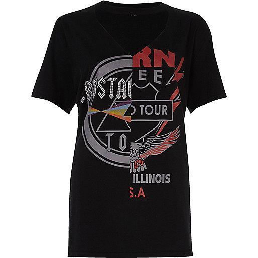 T-shirt noir à imprimé « Rockstar »