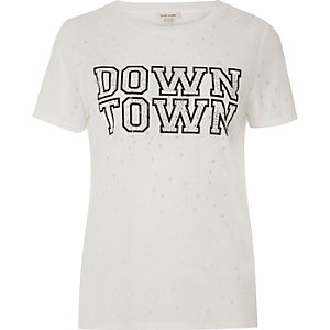 White distressed embellished print T-shirt