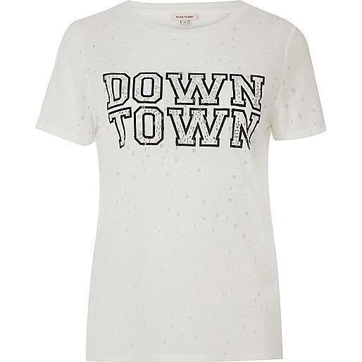 White distressed embellished print T-shirt