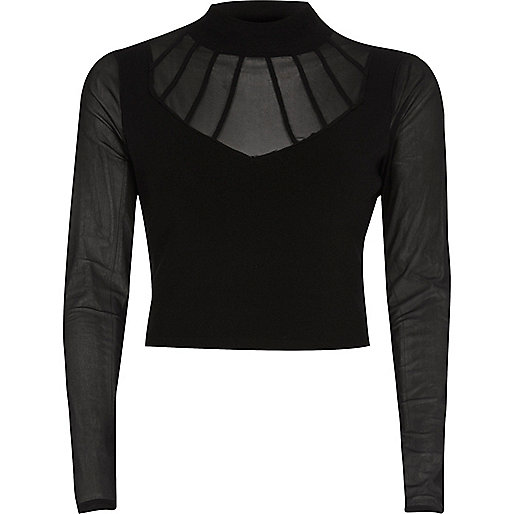 Black mesh turtleneck crop top