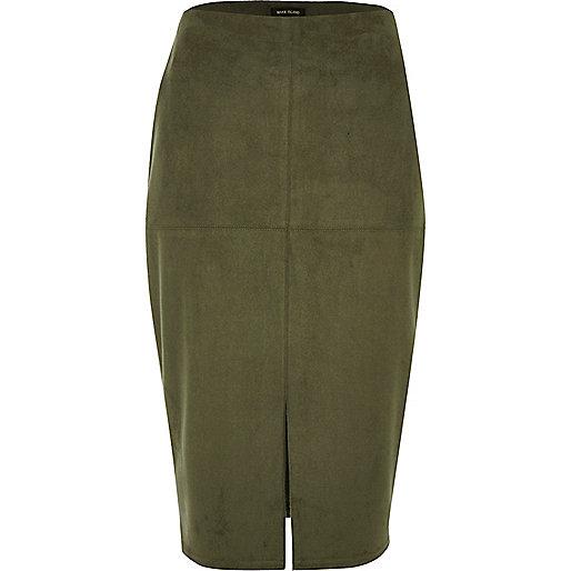 Khaki green faux suede pencil skirt
