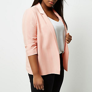 Plus blush pink ruched sleeve blazer