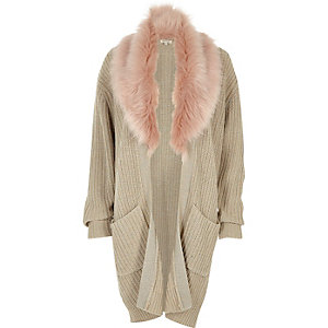 Beige faux fur trim cardigan