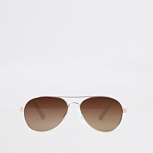 Lunettes de soleil aviateur aux verres marron doré