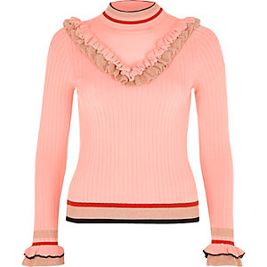 Pink ribbed knit V frill sweater