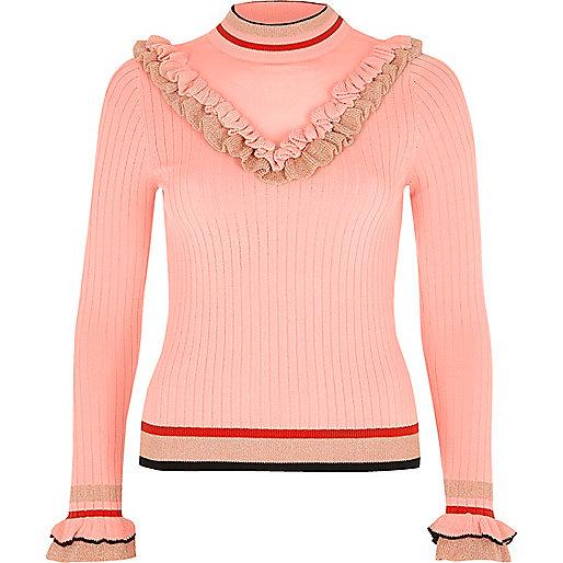 Pink ribbed knit V frill sweater