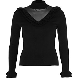 Black frill mesh panel knit sweater