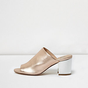 Gold block heel peep toe mules