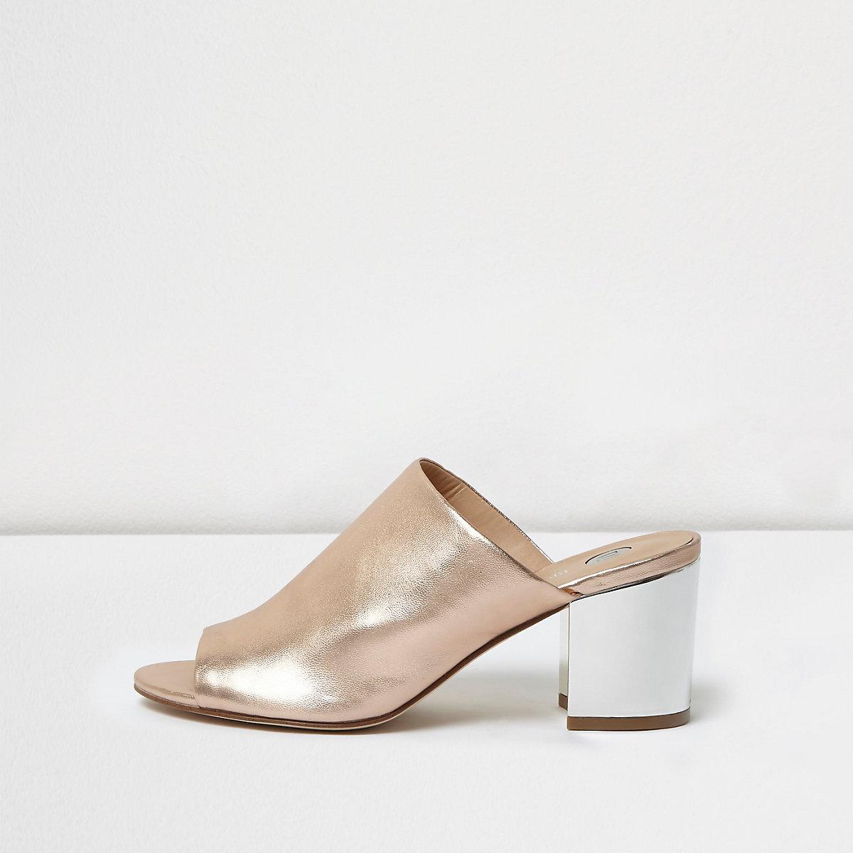 Gold block heel peep toe mules