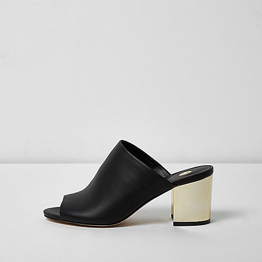 Black gold heel mules