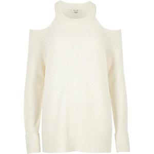 Cream knit cold shoulder jumper