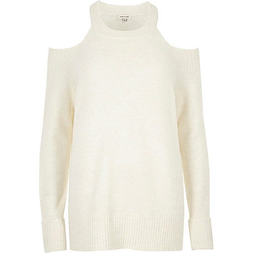 Cream knit cold shoulder jumper