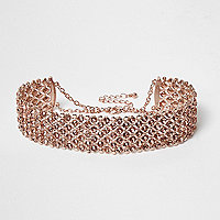Rose gold tone wide rhinestone choker
