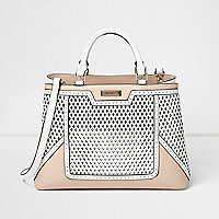 Cream and white lasercut structured tote