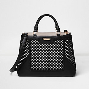 Black laser cut tote bag